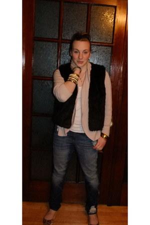blue Gap jeans - dark brown vest - light pink Gap cardigan