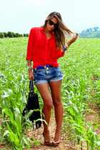 red Forever 21 shirt - black fringed romwe bag