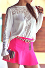 White-lace-detail-chiclet-store-blouse-hot-pink-chiclet-store-skirt