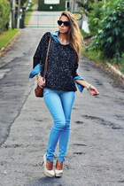 sky blue denim MacStile pants - black Forever 21 sweater