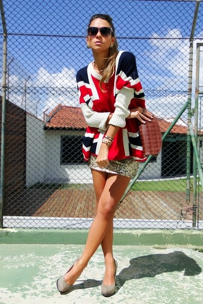ruby red british flag Sheinside sweater - gold sequined Limited skirt