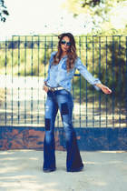light blue denim Moikana blouse - teal D&G sunglasses