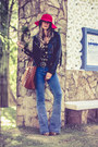 Red-loja-marchi-hat-black-faux-leather-forever-21-jacket-tawny-moikana-bag