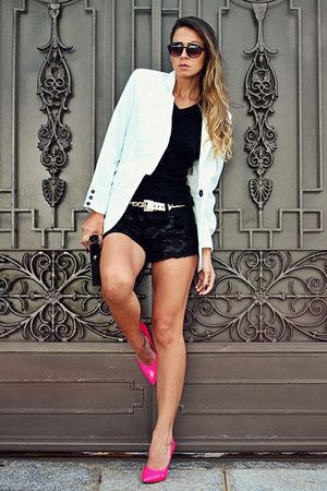 white For It blazer - hot pink Charlotte Russe heels