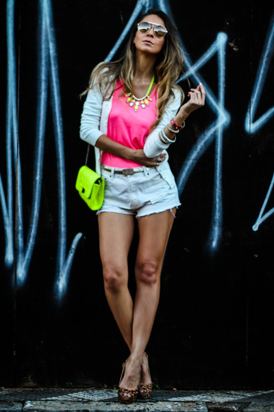 white Forever 21 shorts - chartreuse Charlotte Russe bag