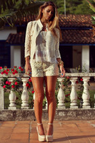 eggshell lace Sheinside jacket - eggshell lace Sheinside shorts