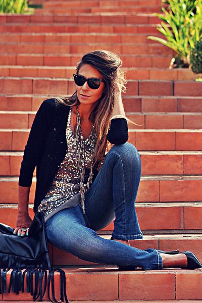 black Choies bag - navy MacStile jeans - silver Lucia Bastos necklace