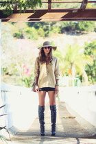 black Schutz boots - black asos shorts - knit Choies cardigan