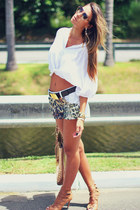 gold Michael Kors bag - white animal print Lovit shorts
