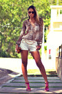 Brown-le-charm-bag-white-macstile-shorts-hot-pink-schutz-heels