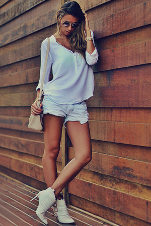 white Schutz boots - white Zara shirt - light blue denim canal shorts