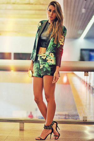 green floral print Mag Deluxe blazer - green floral print Mag Deluxe shorts