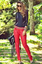 black Choies bag - red Mariana Quintão pants - gold Kafé bracelet