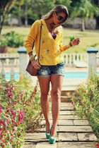 mustard Choies cardigan - blue Wet Seal shorts
