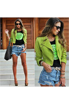 chartreuse faux leather Chiclet Store jacket - light blue denim Sheinside shorts
