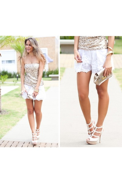 ivory lace Tuart shorts - gold gold Armani Exchange bag