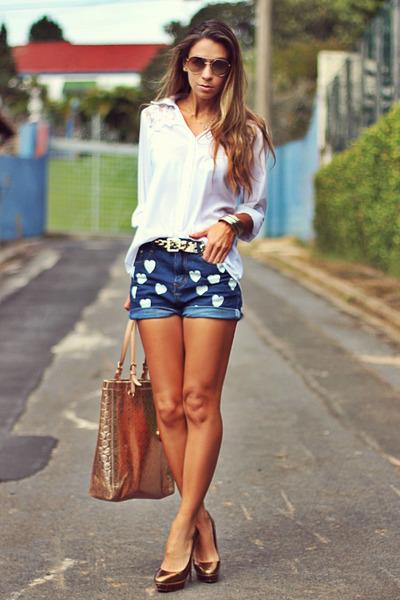 white chiffon Kimika shirt - sky blue hearts denim romwe shorts