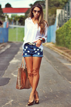 white chiffon Kimika shirt - sky blue hearts denim romwe shorts