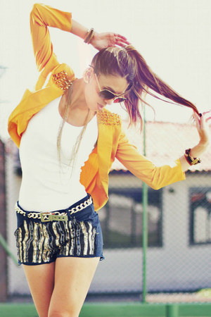 mustard spiked Love Shopping Miami jacket - navy sequined M Store shorts