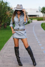 Black-over-the-knee-schutz-boots-periwinkle-denim-degrant-dress