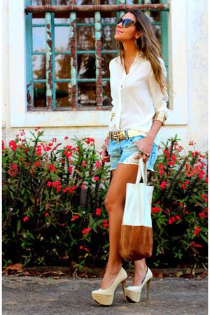 white sequin Forever21 shirt - sky blue denim American Eagle shorts