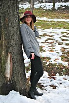 H&M hat - studded New Yorker boots - H&M pants - new look blouse