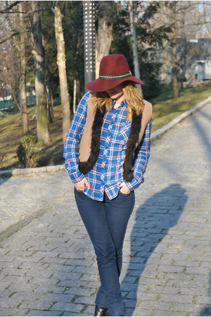 plaid Stradivarius shirt - studded New Yorker boots - navy H&M jeans