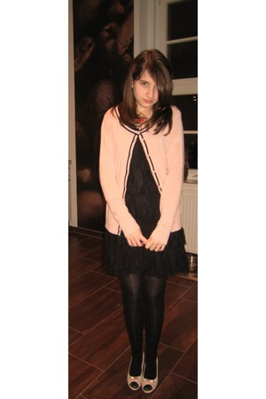 black black lace H&M dress - light pink pink New Yorker jacket - red red lips SI
