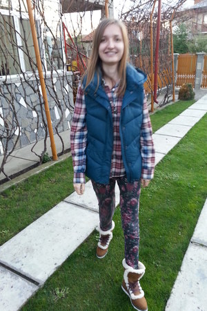 bronze pull&bear boots - pink Colin Stuart shirt - turquoise blue kenvelo vest