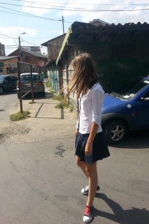 white Bershka shirt - navy Stradivarius skirt - black DIY sneakers
