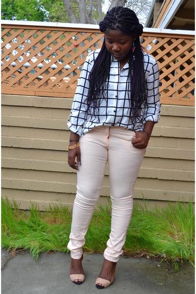 peach pastel pants H&M pants - white Forever 21 shirt
