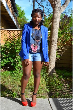 blue Zara blazer - black animal shirt Forever 21 t-shirt - red Forever 21 wedges