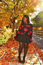 red kiss sweater Forever 21 sweater - black Forever 21 tights