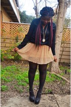 Forever 21 skirt - H&M shirt - romwe tights - heel-less GoJane wedges