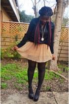 Forever 21 skirt - H&M shirt - romwe tights - heel-less GoJane wedges