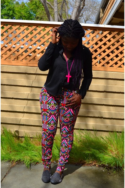 black Love Culture blouse - hot pink H&M pants