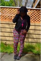 black Love Culture blouse - hot pink H&M pants