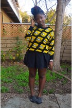 black cross necklace Forever 21 necklace - yellow bart sweater Ebay sweater