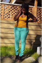 mustard mustard H&M top - aquamarine mint Forever 21 pants