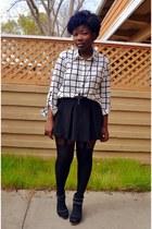 white lines Forever 21 shirt - black pleated skirt Forever 21 skirt
