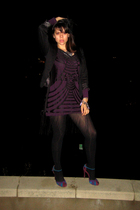 black H&M dress - purple Oh Deer shoes - black BCBG blazer - purple H&M top - bl