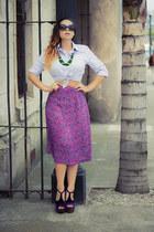 deep purple Jessica Simpson pumps - black Forever 21 sunglasses