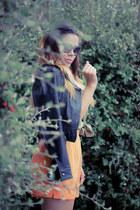 light orange thrifted shorts - black leather moto Express jacket
