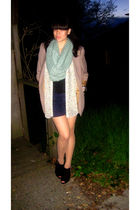 beige YSL blazer - black Nine West shoes - beige Beauty & Attitude tights - blue