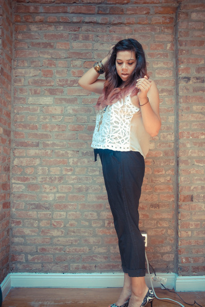 off white lace sheer Urban Outfitters blouse - black Urban Outfitters pants