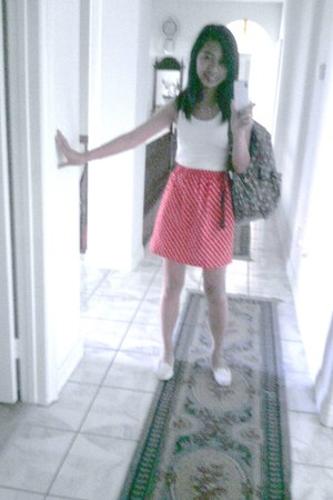 red skirt - white tanktop Old Navy top - white Rock World flats