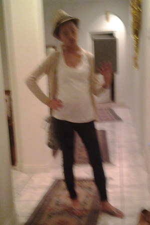white Wet Seal top - navy Blue Anchor jeans - beige Forever21 cardigan