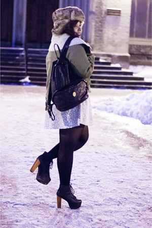 black Jeffrey Campbell boots - beige Urban Outfitters hat - green UNIF jacket