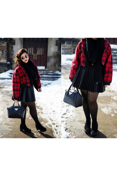 black Topshop boots - red vintage jacket - black Zara scarf - black Topshop bag