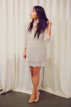 ivory Forever 21 dress - nude Christian Louboutin shoes - silver Kenneth Jay Lan